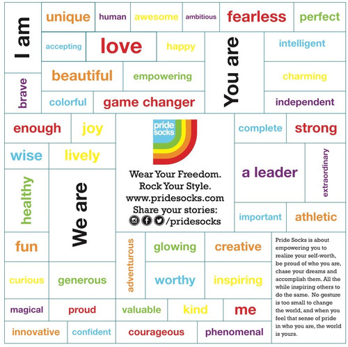 I am proud, fearless, love, kind and whatever else you want to be pride socks magnet set.  Use this magnet set to help you have a great day everyday.