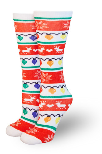 Rock your holiday spirit with our twinkle toes pride socks.
