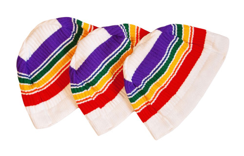 no matter where your next adventure takes you, take your pride socks white rainbow beanie with you to remind you how fashionably cool you are while staying warm.
