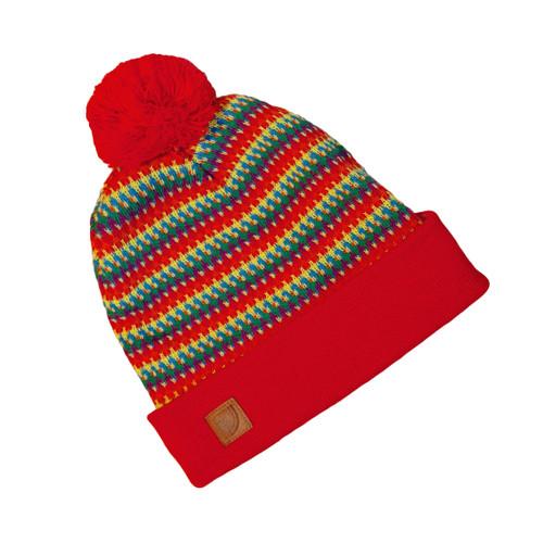 Pride Socks rainbow pom pom beanie worn to rock your fashion and trendy self.