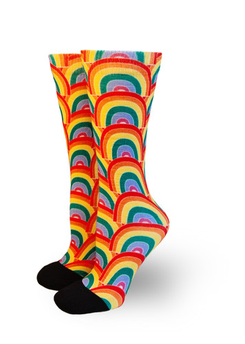 no matter what the storm is, you will always find a rainbow to cheer you up and to show there is always hope in the end.  Pride Socks rainbow galore socks are the perfect calm to show off what we need.