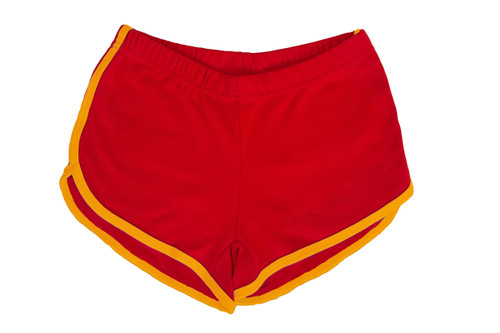 Rock out in these red and gold retro roller skating shorts while showing off your pride in who you are.  match them with your favorite pride socks.