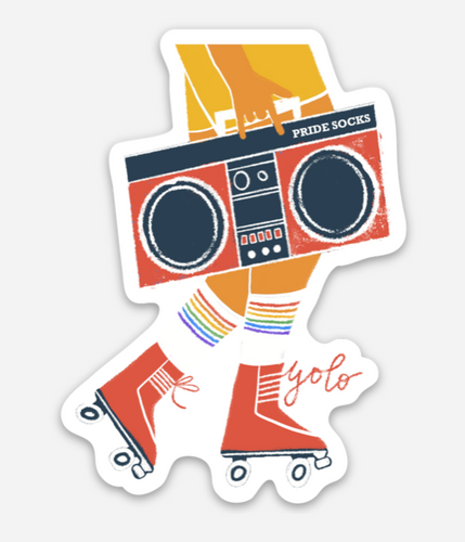 rolller skate with your pride socks sticker