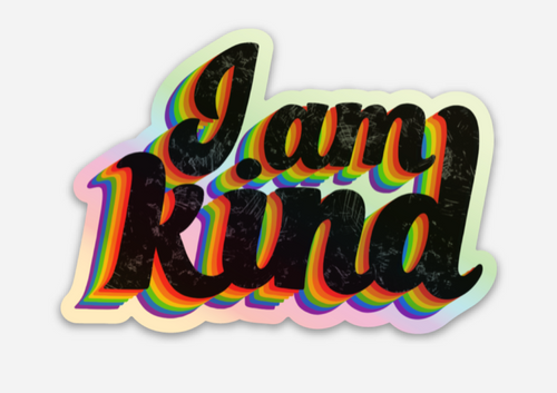 be kind to yourself and everyone you know rainbow pride socks sticker
