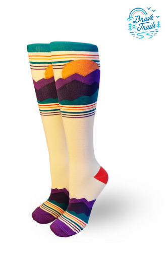 trailblaze the trail for lgbtq youth in camp brave trails by buying one of these pride socks compression socks in our custom for a cause socks with melissa urban, founder of whole 30