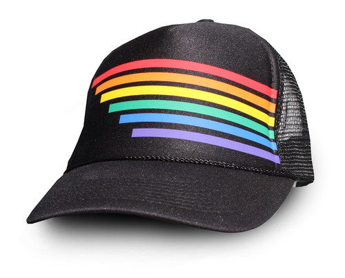 Fading retro rainbow striped trucker hat.  buy your pride socks snap back to help create the look you are looking for.
