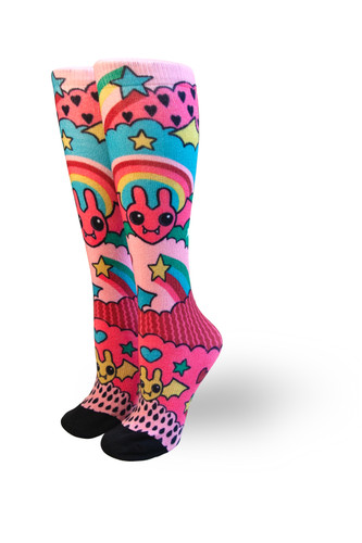the love bats designed by missi from giggle box in austin texas for pride socks