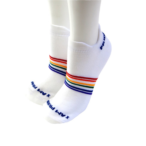 let your feet rejoice in comfort while you work out in your athletic moisture wicking pride socks