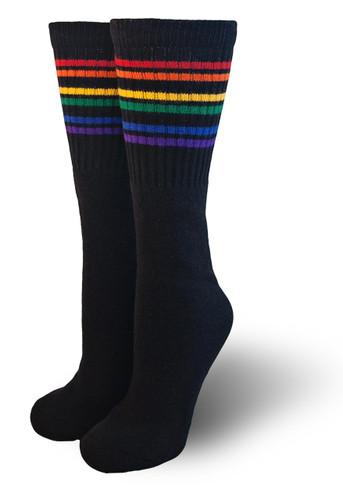Black under the knee rainbow pride socks