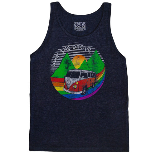 living the dream mens tank with pride socks