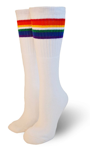 rainbow love under the knee socks