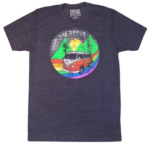 living the dream with prides socks rainbow themed retro shirts.