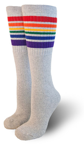 gray rainbow  knee high striped tube pride socks
