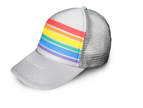 gray rainbow striped trucker hat.  you can easily adjust the back, which also includes a sweat band inside the hat.  rock your retro pride socks snap back.