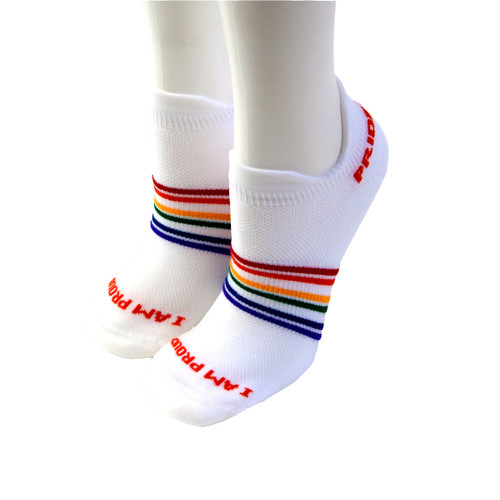 our small rainbow striped athletic pride socks will take care of your feet with no blisters or sore feet.