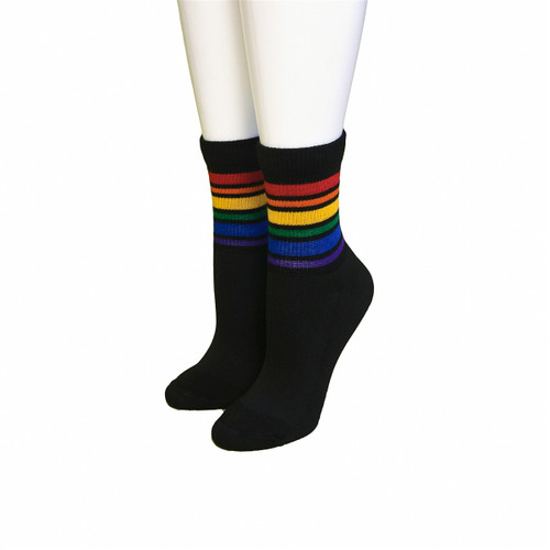 show off your black low cut rainbow pride socks anywhere you go