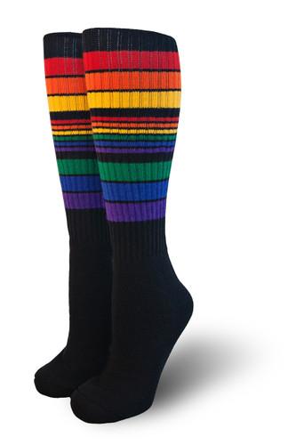 retro black rainbow tube pride socks