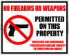No Firearms or Weapons Permitted Notice Sign