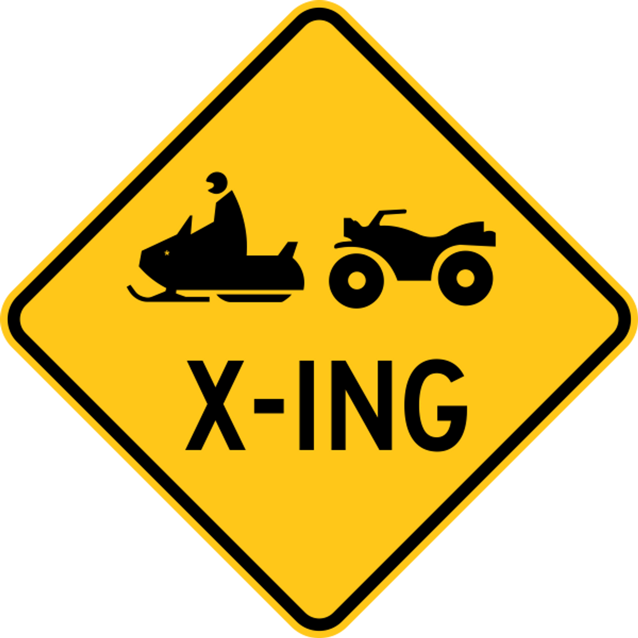 """Snowmobile Crossing Reflective Trail Sign 12x12 /""""X-ING/"""" Yellow//Black"""