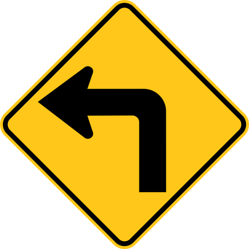 Left Turn Warning Trail Sign Yellow
