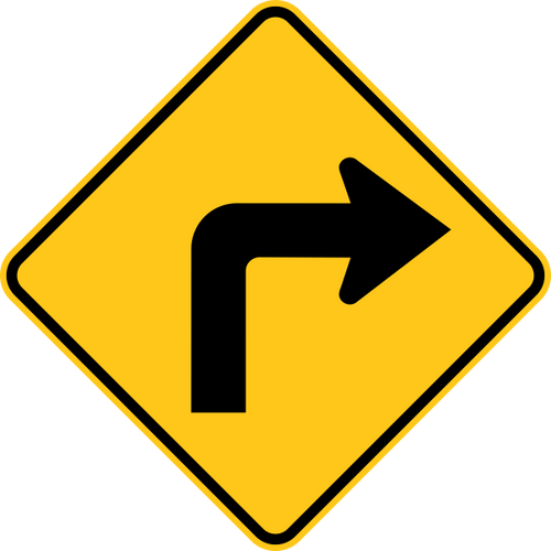 Right Turn Warning Trail Sign Yellow