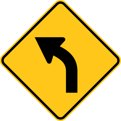 Left Curve Warning Trail Sign Yellow