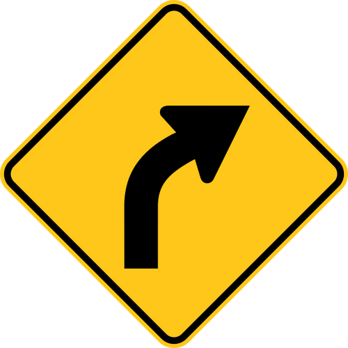 Right Curve Warning Trail Sign Yellow