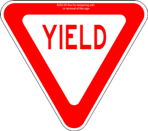 "12"" x 12"" x 12"" YIELD Sign Trail Sign"