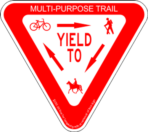 "12"" x 12"" x 12"" YIELD To Trail Sign"