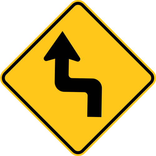 Reverse Turn Left Warning Trail Sign Yellow