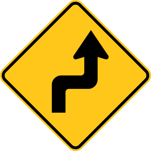 Reverse Turn Right Warning Trail Sign Yellow