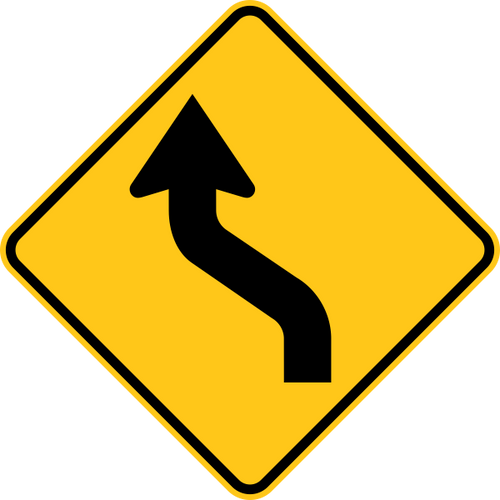 Reverse Curve Left Warning Trail Sign Yellow