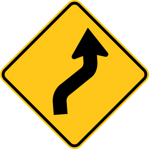 Reverse Curve Right Warning Trail Sign Yellow