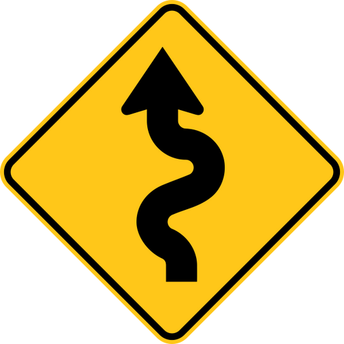 Winding Road Left Warning Trail Sign Orange