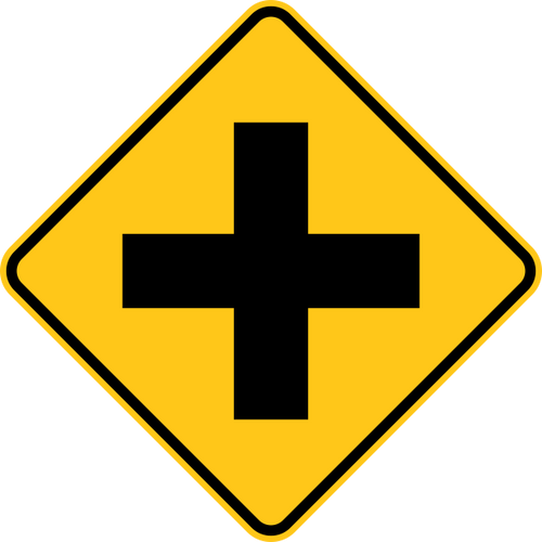 Cross Road Warning Trail Sign Yellow
