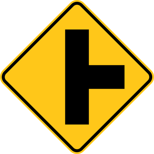 Cross Road Right Warning Trail Sign Yellow