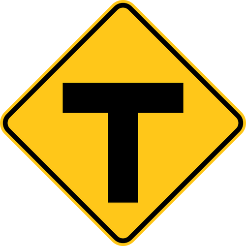T Intersection Warning Trail Sign Yellow
