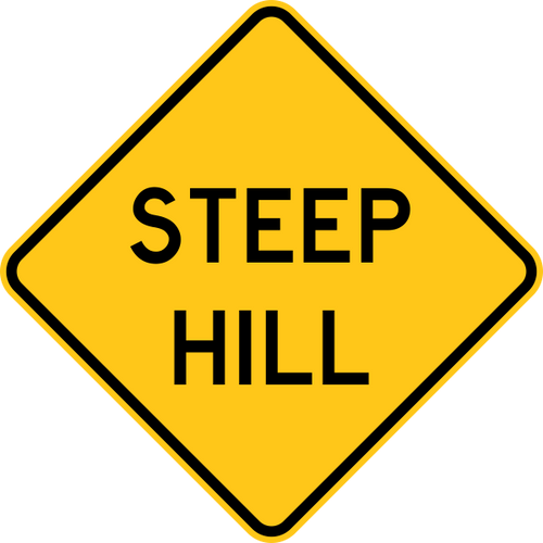 Steep Hill Warning Trail Sign Yellow