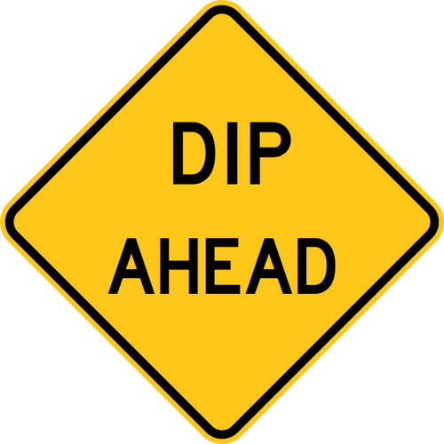 Dip Ahead Warning Trail Sign Yellow