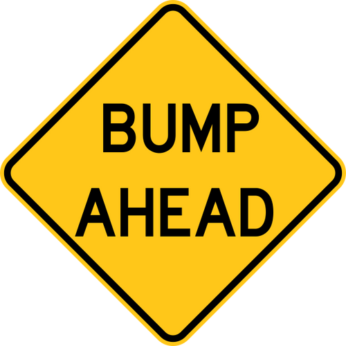 Bump Ahead Warning Trail Sign Yellow