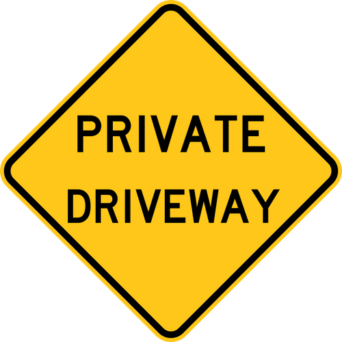 Private Driveway Warning Sign Yellow