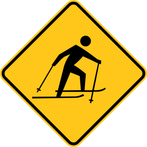 Skier Icon Warning Trail Sign Yellow
