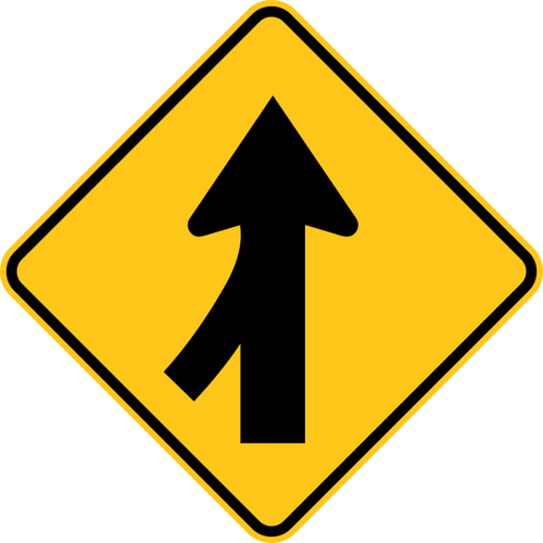 Merge Left Warning Trail Sign Yellow