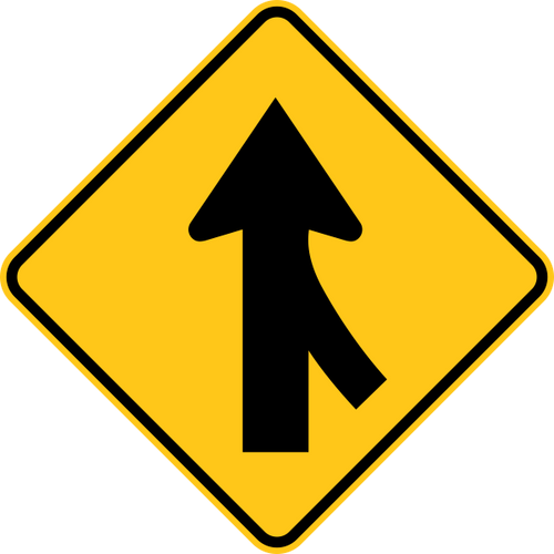 Merge Right Warning Trail Sign Yellow