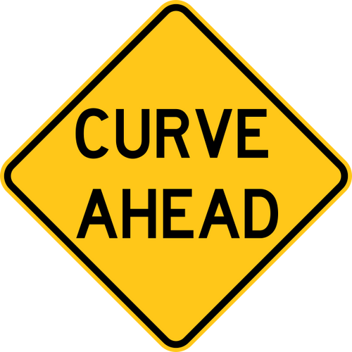 Curve Ahead Warning Trail Sign Yellow