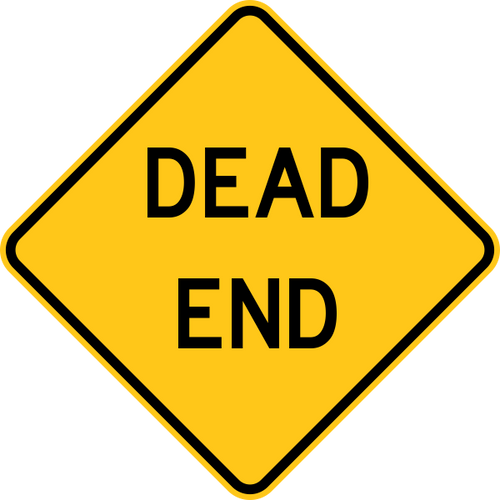 Dead End Warning Trail Sign Yellow
