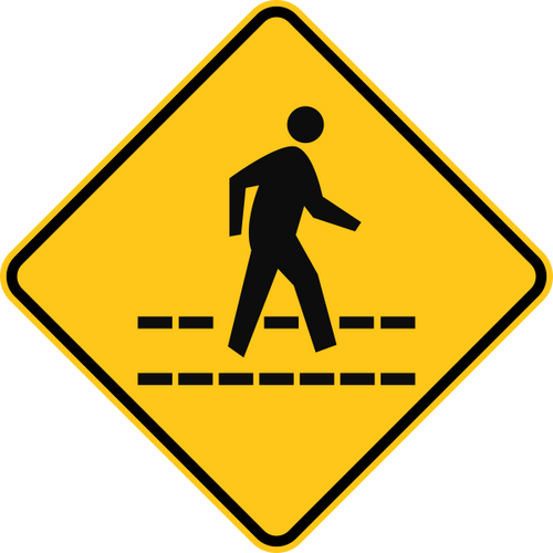 Pedestrian Crossing Warning Trail Sign Yellow
