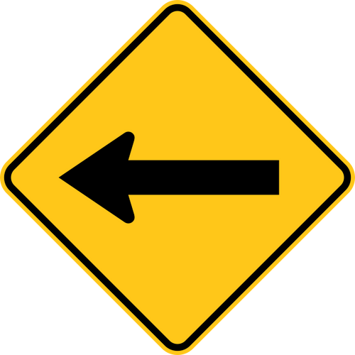 One Direction Arrow Warning Trail Sign Yellow
