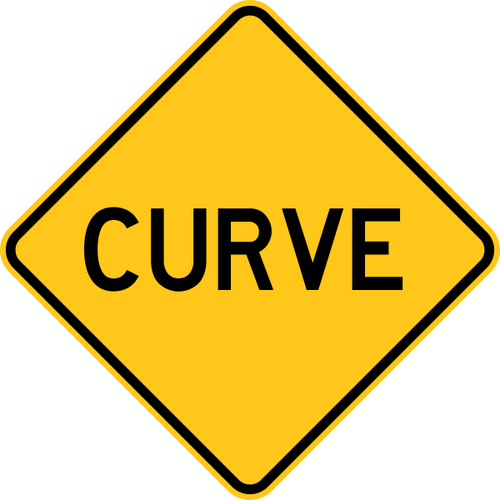 Curve Warning Trail Sign Yellow