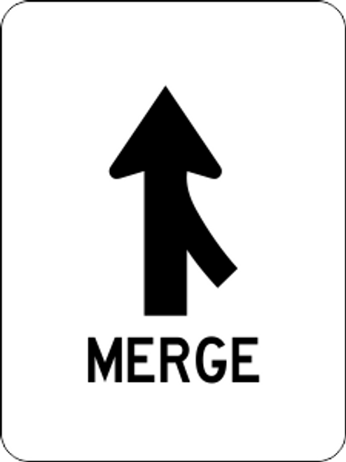 Merge Right Information Trail Sign